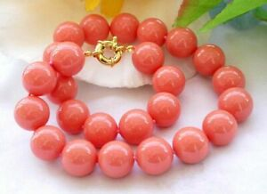 Charm 8/10/12mm South Sea Coral Pink Shell Pearl Round Beads Necklaces 16-36''