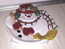 Fitz and Floyd Plaid Christmas Snowman Canape Plate