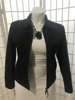 Women's Esprit Large Black Zip Up 100% Cotton Spring Jacket