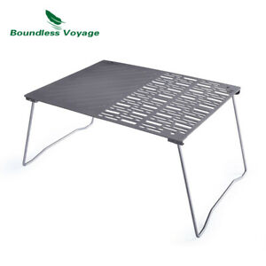 Titanium BBQ Grill Net Frying Plate with Legs Outdoor Camping Picnic Hiking