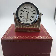 Cartier Desk Clock Swivel Silver and Gold Plate Quartz Roman Numerals