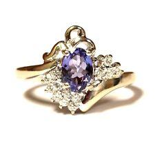 18k white gold .21ct womens SI! diamond tanzanite ring band 4.8g estate vintage