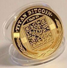 BITCOINS!! Gold Plated .999 fine copper Titan novelty Physical Bitcoin!!