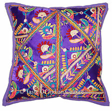 Indian 16'' Purple Pillow Cushion Cover Decorative Mirror Embroidered Sofa Throw