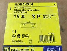 New IN BOX  Square D EDB34015 Circuit Breaker 3 Pole 15A 277/480V  Bolt-On