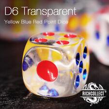 Transparent Yellow Blue Red Point Casino Dice Plastic 透明黄蓝红点数塑料骰子