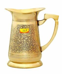 Pure Brass Handmade Embossed Floral Designer Water Jug Pitcher Pack OF 1 Piece