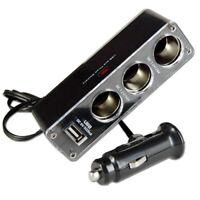 3 WAY MULTI SOCKET CAR CIGARETTE LIGHTER SPLITTER USB PLUG CHARGER DC 12V/ N9X5