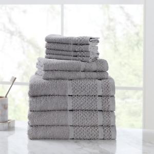10-Piece Towel Set 100% Cotton Premium Washcloths Hand & Bath Towels Multicolors