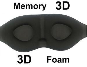🇬🇧 EYE MASK 3D Soft Memory Foam Blindfold Sleep Black Travel Blackout UK