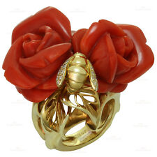 CHRISTIAN DIOR Oxblood Coral Diamond 18k Yellow Rose Bee Gold Ring