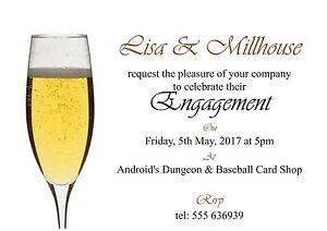 50 invites Single Champagne Glass Engagement Invitation Cards - 50 invites