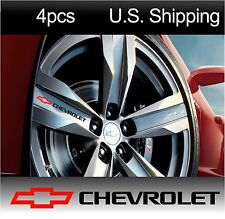 4 CHEVY Chevrolet Stickers Decals Wheels Rims Camaro corvette BLACK-red