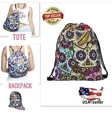 Drawstring Sugar Skull Backpack Day of the Dead String Bag Sack Pack Travel Tote