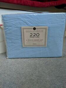 NEW - BASICS COLLECTION SHEET SET 3 PIECE TWIN 220 THREAD COUNT, LIGHT BLUE