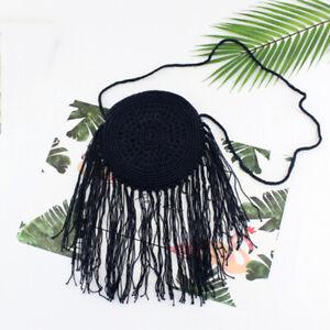 Round Straw Bags Women Summer Rattan Bag Beach Bohemia Handbag Messenger Bag@