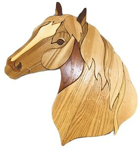 Vintage Horse Head Marquetry Parquetry Handmade Wood Wall Hanging Art Plaque