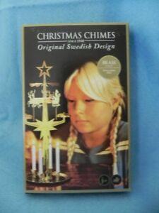 Santa Christmas (Angel) Chimes, Brass, Original Swedish Design, 4 Candles NEW