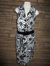 Worth Sz 8 Sleeveless Shirt Dress Black & White Floral Belted CAREER