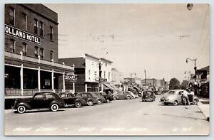 Tawas MI Holland Hotel~Arctic Ice Cream~Bowling Alley~Merschme Cleaners 40s RPPC