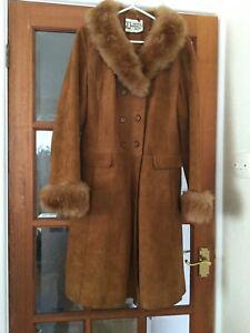 1960s Vintage Authentic Suede & Leathercraft Ltd Suede Coat 12 Fur Collar & Cuff
