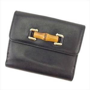 Gucci Wallet Purse Black Beige leather Woman unisex Authentic Used L2464