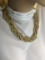 Gold Beaded And Rhinestoned Intertwined Layered Choker New W Tags
