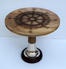 Wooden coffee table rounder nautical ship wheel design home & garden decor item
