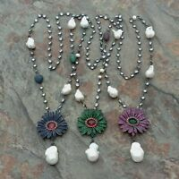 28'' White Keshi Pearl Chain Necklace Mixed Color Cz Pave Flower Pendant