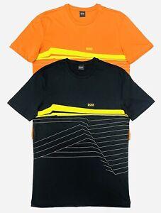 Hugo Boss Men's Regular Fit Short Sleeve Logo T-Shirt In Black / Orange