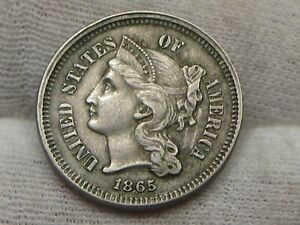 VF/XF 1865 3¢ Cent Nickel.  #34