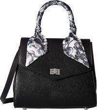 Steve Madden Women's Bag Maeve Convertible Satchel Crossbody Black Satin Scarf