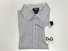 D&G Boys Kids New BLUE STRIPED DRESS SHIRT w/ STITCHED LOGO Sz: 4 RTL: $155 R47
