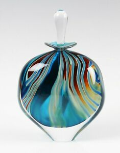 Peter Layton studio glass Cascade pattern perfume bottle and stopper, signed