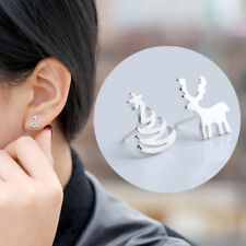 Women's Silver Plated Deer Christmas Tree Xmas Pierced Ear Stud Earrings Jewelry