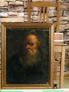 Old Masters Oil Painting Antique Doubeliert Portrait Bearded Man Apostle Damaged