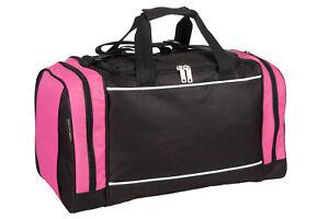 Ladies & Girls Black & Pink Sports & Gym Holdall Bag - TRAVEL LEISURE SCHOOL