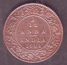 Victoria Empress-1/12 Anna 1901 Copper Calcutta Mint Coin #VE32