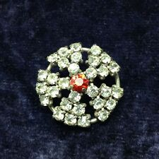 Retro Vintage Circle Pin Brooch Set with White & Ruby Red Rhinestones