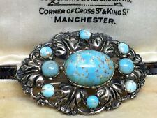 Vintage Czech Blue Turquoise Glass Brooch