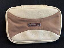 World Map Cosmetic Travel Bag 9� X 6� X 3� Map Zipper Pulls Leather Hanger