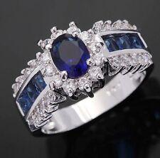 Size 8 Princess Cut Wedding Blue Sapphire 18K Gold Filled Women Engagement Ring