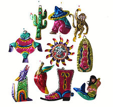 TIN FIGURES - SOUTHWEST THEME, Box of 10 Ornaments, Handmade in Oaxaca, Mexico