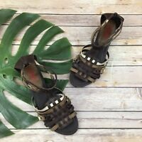 Pikolinos Women's Low Wedge Sandals Sz 42 11.5 Brown Leather Strappy Ankle Strap