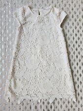 H & M Hm Blanc Dentelle Manche Courte Robe Ivoire Sz 8-9