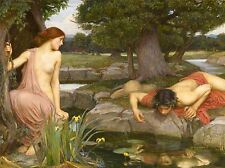 JOHN WILLIAM WATERHOUSE ECHO NARCISSUS OLD MASTER ART PAINTING PRINT 1675OMA