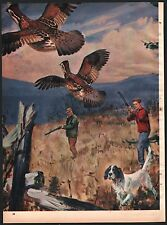 1958 English Setter Hunters Quail Magazine Illustration Unidentified Artist