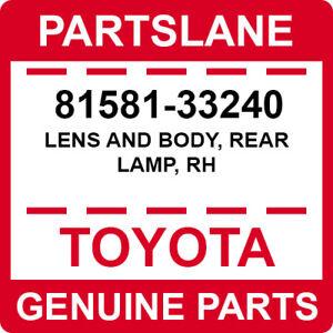 81581-33240 Toyota OEM Genuine LENS AND BODY, REAR LAMP, RH