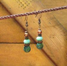 Beaded Chrysocolla Earrings, Dangle, Gemstone, Handcrafted, Tribal, item #101