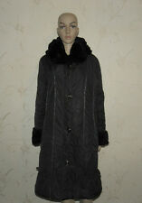 Stunning Black Fabric & Faux Fur Collar Hood PLIST Zip Drawstring Coat Sz 48 /50